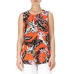 Wallis - Bright orange floral top