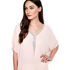 Wallis - Blush embellished kimino top