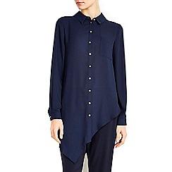 Wallis - Navy asymmetric hem shirt