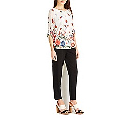 Wallis - Cream floral tab sleeve blouse