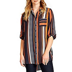 Wallis - Ink and rust stripe shirt