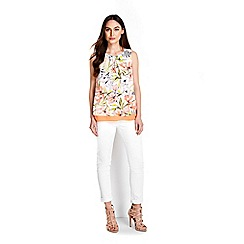 Wallis - Orange floral overlayer top