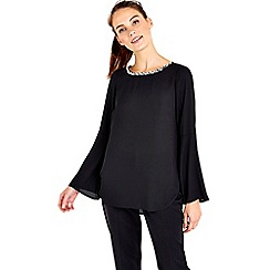 Wallis - Black flute sleeve embellished top