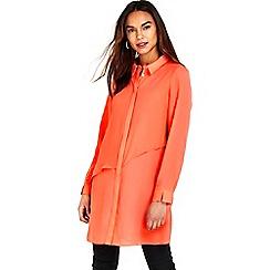 Wallis - Coral longline asymmetric shirt