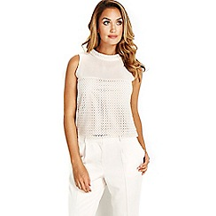 Wallis - Sapphire ivory cropped top