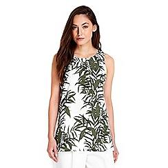 Wallis - Khaki palm print shell top