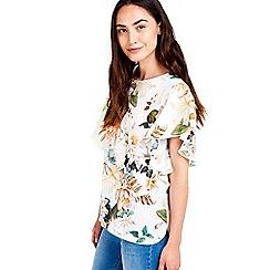 Wallis - Floral print flutter sleeve top