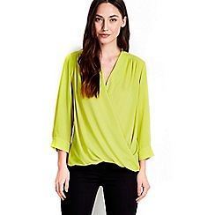 Wallis - Lime plain wrap top