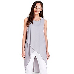 Wallis - Grey embellished asymmetric top