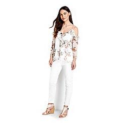 Wallis - Cream floral cold shoulder top