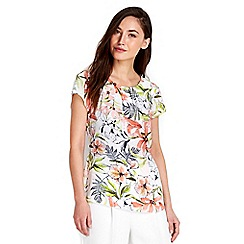 Wallis - Cream floral printed shell top