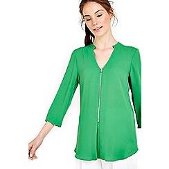 Wallis - Green 3/4 sleeve zip front shirt