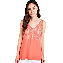 Wallis - Coral embellished camisole top