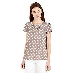 Wallis - Taupe spot printed shell top