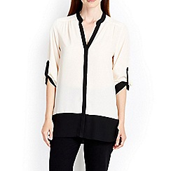 Wallis - Cream colourblock tip blouse