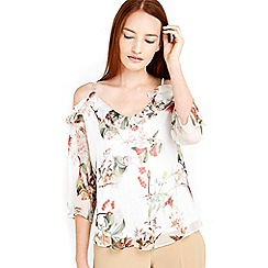Wallis - Floral cold shoulder top