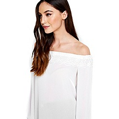 Wallis - Ivory lace off the shoulder top