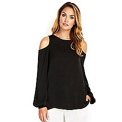 Wallis - Sapphire black cold shoulder top