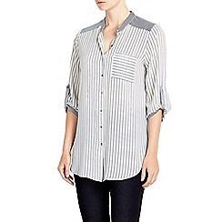 Wallis - Navy mixed striped shirt