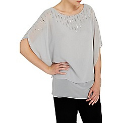 Wallis - Grey sequin overlay kaftan top