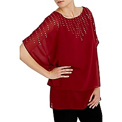 Wallis - Berry sequin overlay kaftan top