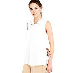 Wallis - Pearl collar sleeveless shirt