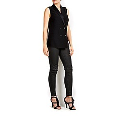 Wallis - Sleeveless black tuxedo jacket