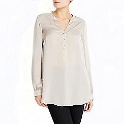 Wallis - Oyster satin longline shirt