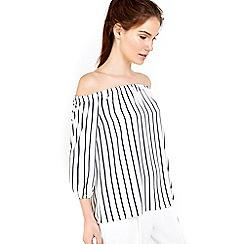 Wallis - Cream striped off shoulder top