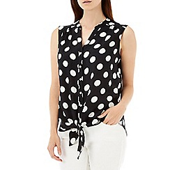 Wallis - Black spot tie front top