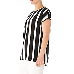 Wallis - Monochrome striped button top