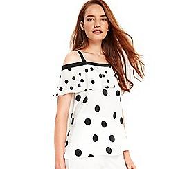 Wallis - Ivory polka dot cold shoulder top