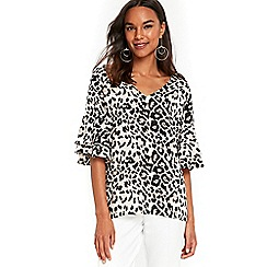 Wallis - Animal frill sleeves top