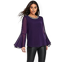Wallis - Purple embellished top