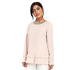 Wallis - Pale pink peplum hem embellished blouse