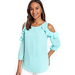 Wallis - Mint ruffle cold shoulder top
