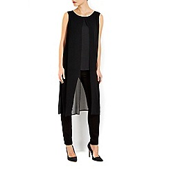 Wallis - Black split hem longline top