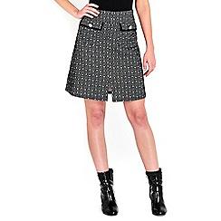 Wallis - Monochrome printed jacquard skirt