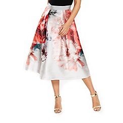 Wallis - Coral floral prom skirt