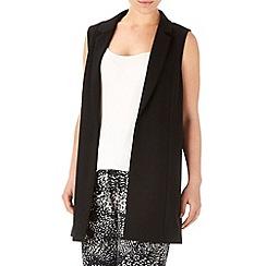 Wallis - Black crepe longline waistcoat