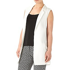 Wallis - Cream crepe longline waistcoat