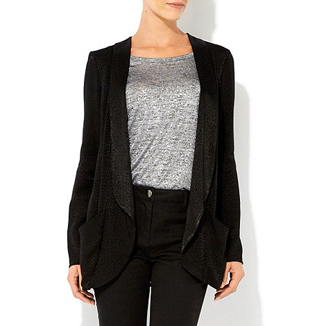 Wallis - Black animal jacquard blazer