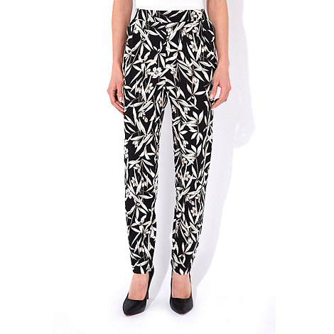 Wallis - Black palm print trousers