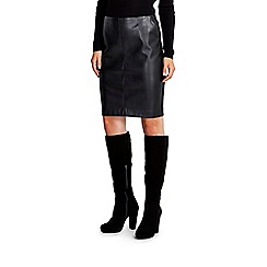 Wallis - Black pu/ponte skirt