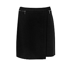 Wallis - Black ponte wrap skirt