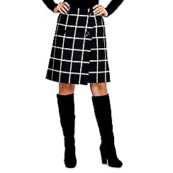 Wallis - Black and white check skirt