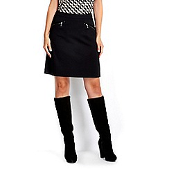 Wallis - Black zip a line skirt