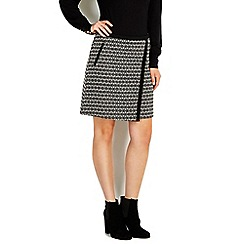 Wallis - Asymmetric monochrome wrap skirt