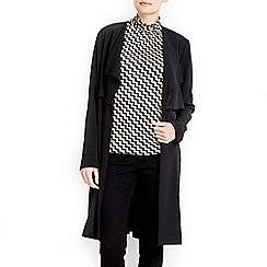 Wallis - Black longline drape jacket