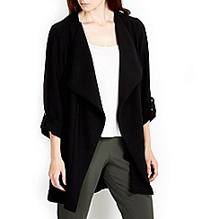 Wallis - Black waterfall collar jacket